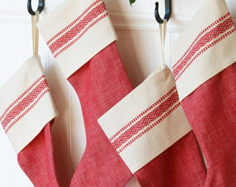 Red Vintage-Inspired Christmas Stocking - Scandinavian - Red Stripe - Linen - Cotton - God Jul