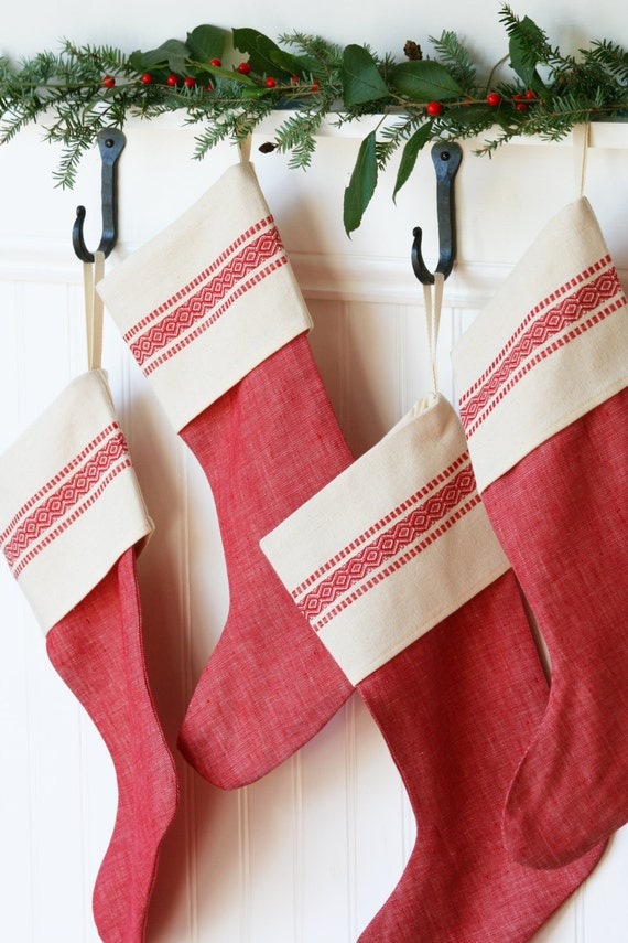 Red Vintage Inspired Christmas Stocking Scandinavian Red