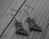 Black Bat Earrings Bat Jewelry Gothic Goth Vampire Earrings Vampire Jewelry Vampire Bat Horror Macabre Gothic Jewelry Gothic Earrings Silver