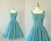 Vintage 50s Dress/ 1950s Party Dress/ Blue & Green Sheer Floral Party Dress w/ Shelf Bust S