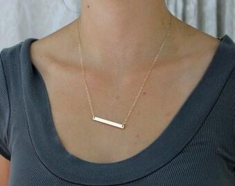 Dainty Gold Bar Necklace / Horizontal Bar Necklace / Minimal Layering Necklace / LadyKJewelry