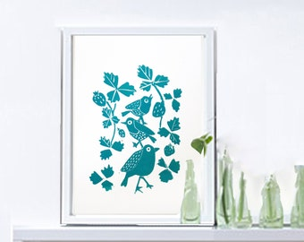 "Original Linocut Print Folk Bird, Turquoise Art,A4, 8""X10""  small Wall Poster, Limited edition art, , Bird Art, Nursery Art  -"