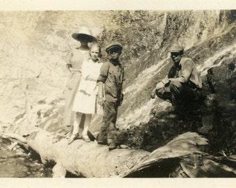 "Vintage Photo ""Fancy Hikers"" Hiking Family Snapshot Photo Old Antique Photo Black & White Photograph Found Photo Ephemera Vernacular - 194"