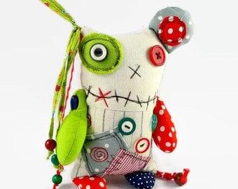 Cute Monster Doll, Stuffed Monster, Personalized Stuffed Animal, Creature Plush, Ooak Art Doll, Personalized Halloween Gift, Plush Monster
