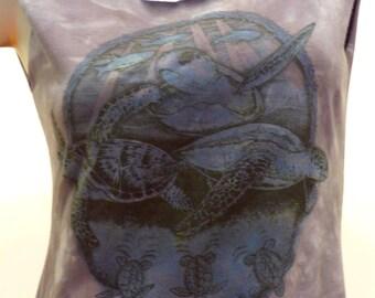 Amazing SEA TURTLES Mandala Print Tie Dye Reshaped T-Shirt / Dress Sz. S/M