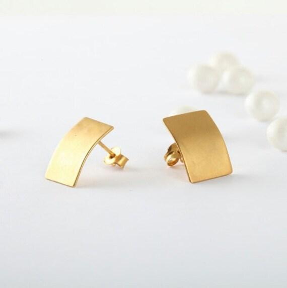 Rectangular Gold Studs, Gold Studs, Mod Deco Studs, Rectangular Gold Earrings, Geometric Earrings