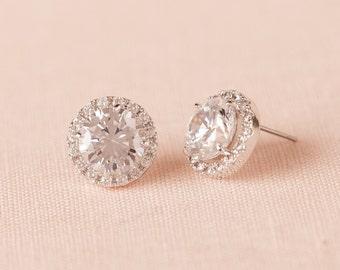 Crystal Stud Bridal Earrings, Rose gold, Gold, Round Halo Stud Earrings, Bridesmaid Jewelry, Swarovski, Wedding Earings, Reese Stud Earrings