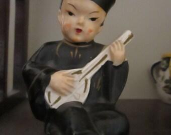 Vintage Asian Decor Ceramic Figurine Chinese Man Mandolin Player Salt Pepper Shaker YourFineHouse ShipsWorldwide Hand Painted