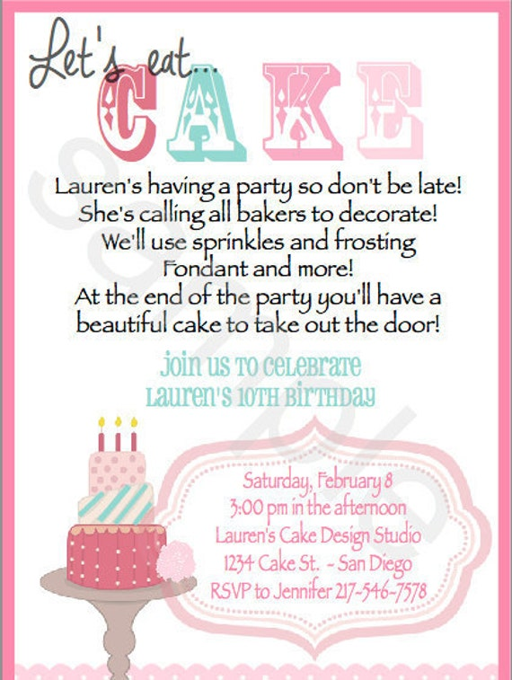 Cake Decorating Birthday Party Invitations : Cake Decorating Invitations. Set of 20 Invitations