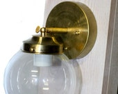 Minimalist Vintage Modern Glass Globe Adjustable Edison Wall Sconce - Brass or Chrome