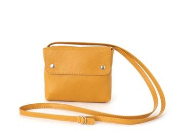 Cross body bag mustard, small crossbody purse, small leather bag, bridal bag, evening bag, yellow leather purse, mini bag