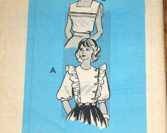 Bib Collar Blouse, Side Buttoned Ruffled Top, Womens Misses Vintage 1970s Mail Order Sewing Pattern 9371 Size 16 Bust 38 Uncut Factory Folds