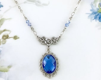 Sapphire Blue Necklace Light Sapphire Blue Crystal Necklace  September Birthstone Gift Idea  Wedding Bridesmaid Necklace Something Blue Prom