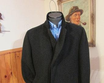 Vintage Mens Overcoat AVACROMBIE Dresscoat Full Length Wool Felt Coat Warren K Cooke Luxury Tag Size 42 Fit like 44 With Sweater