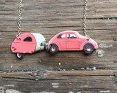 Wanderlust Pink or Blue Necklace Retro Beetle Camper Trailer Travel Vintage Inspired Quirky