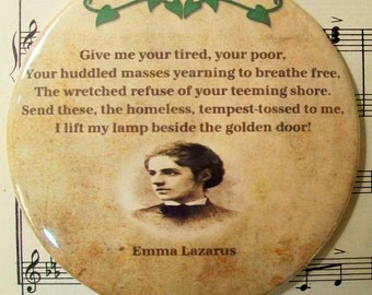 Jewish American Poet - Emma Lazarus - The New Colossus - Statue of Liberty Poem - Magnet Large 3.50 Inches, Party Favor Magnets