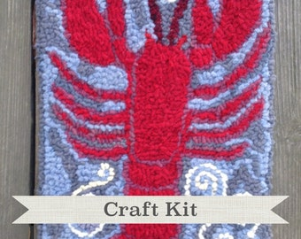Complete Rug Hooking Kit on Your Choice of Foundation - RED RED LOBSTER