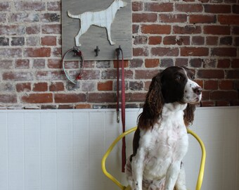Dog Wooden Wall Art with Hooks, Distressed Antique White Bead Board, Modern Rustic