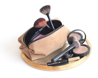 Suede Leather Dopp Kit. Suede Leather Cosmetic Bag. Suede Leather Toiletry Case. Suede Leather Shaving Pouch. Gift for Him. Party Favors