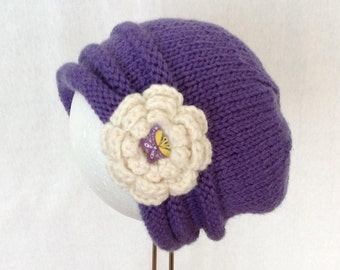Girl's hand knitted pure wool hat/beanie blueberry in colour