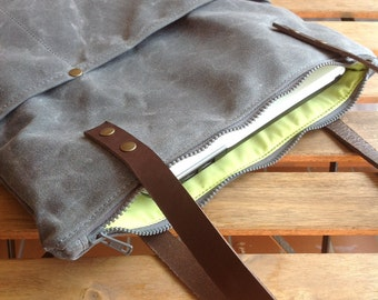 Waxed canvas bag - waxed cotton tote - tote with leather handles - canvas laptop bag - computer bag -handmade bag - mens bag