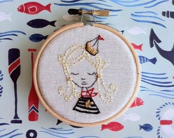 embroidery kit // no secrets between sailors - sailor girl - embroidery kit