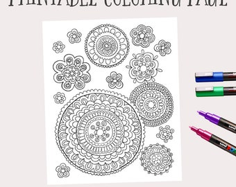 printable instant download adult coloring book pages hand drawn flower art doodle flowers - Coloring Book Page