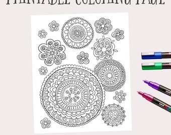 printable instant download adult coloring book pages hand drawn flower art doodle flowers - Printable Color Pages