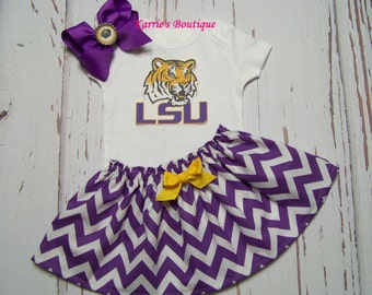 LSU 3 PC Outfit / Onesie + Skirt + Headband / Purple & Gold / Geaux Tigers / LSU Kids / Game Day / Infant / Baby / Girl / Toddler / Boutique