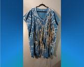 Sale Rock On Blue Gold Ribbons Hand Painted Art Blouse 2x 3x 4x Plus Size Linen Rocker Chic Bold Bohemian Rock Star
