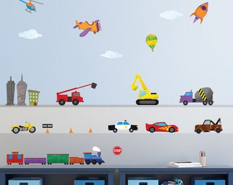 Train, Car, Airplane, Construction, Trucks, and City Wall Stickers – Peel & Stick Decals for Boys - MINI SET (Item: 1242-17)