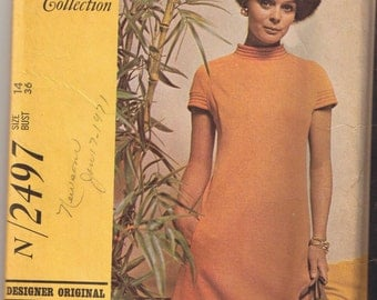 Vintage McCall's 2497 -Designer Collection -  Misses' Dress in Two Versions - Size 14 - UNCUT Factory Folded