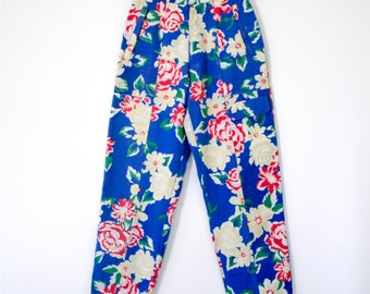 "REDUCED PRICE Vintage 1990s ""C'est la Vie"" Blue & Pink Floral High Waisted Jeans w/ Cargo Pockets"