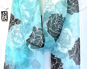 Chiffon Scarf, long scarf, Silk Scarf Handpainted, ETSY, Ice Green, Silver, Black Snow Queen Roses Scarf, Mint Green Scarf, 11x90 inches.