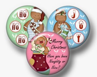 2 Christmas Gingerbread, Stockings and Kids, Bottle Cap Images, 1 Inch Circle, Instant Download, Digital Collage Sheet, Cupcake Topper,