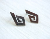 Mexican Tribal Earrings Aztec Posts Sterling Silver Vintage Pierced Post Taxco Mexico Southwestern Maze