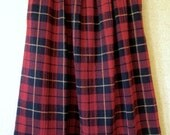 Red Plaid Skirt red navy tartan lightweight wool gauze polyester skirt vintage 70s preppy hipster women small medium