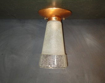 Mid Century Flush Ceiling Mount Cone Shaped Light Fixture-Copper Seeded Glass-Atomic Ranch-Industrial