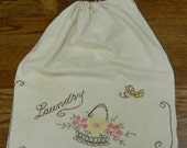Vintage Embroidered Flower Basket Cotton Laundry Bag with Drawstring