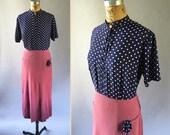 RESERVED // Frankenstein 1940s Homemade Dress Navy & White Polka Dot Print Long Magenta Skirt Pockets Scarf