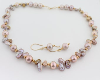 Pearl necklace earring set, pink, pondslime, keshi, freshwater pearls,  metallic, exotic, natural color, gold: Simply Adorned