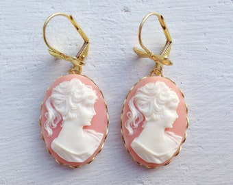 Cameo Earrings/Pink Earrings/Pink Cameo Earrings/Vintage Inspired Earrings/Gifts For Her/Bow Earrings/Victorian Earrings/Cameo Jewelry