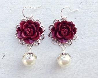 Maroon Earrings/Cream Pearl Earrings/Pearl Earrings/Romantic Rose Earrings/Rustic Wedding Earrings/Bridesmaid Earrings/Burgundy Earrings
