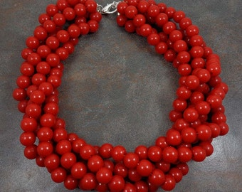 Statement Necklace, Big Necklace, Red, Red Bead Necklace, Multistrand Necklace, Chunky, Twisted, Choker Necklace, Round Bead Necklace, Red