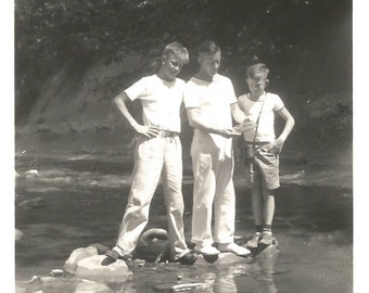 "Vintage Snapshot ""Nature Walk With Dad"" Father and Sons Reflection in Stream - Found Vernacular Photo - Black & White Photograph"