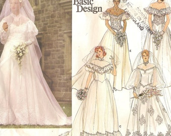 Vogue Bridal Gown Dropped Shoulder Size 12 Sewing Pattern 1980s