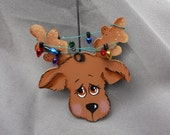 Reindeer with Christmas Tree Lights Ornament/Gift Tag/Party Favor -- OA1