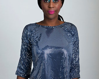 Glamorous Sequin Top, handmade women top miss evolution clothing size small Beaded Party Top, Sequin Party Top, SALE