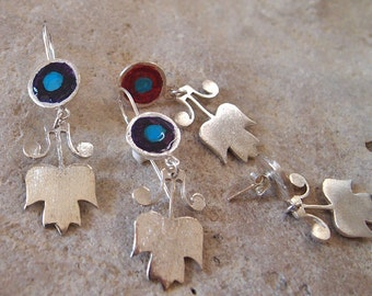 "Tulip Earrings, Silver Flower Earring, Abstract Jewelry, Floral Sterling Silver, Art Jewelry, "" Dancing Woman """