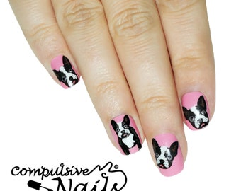 Nail polish strip decal wraps. French bull dog nail art.